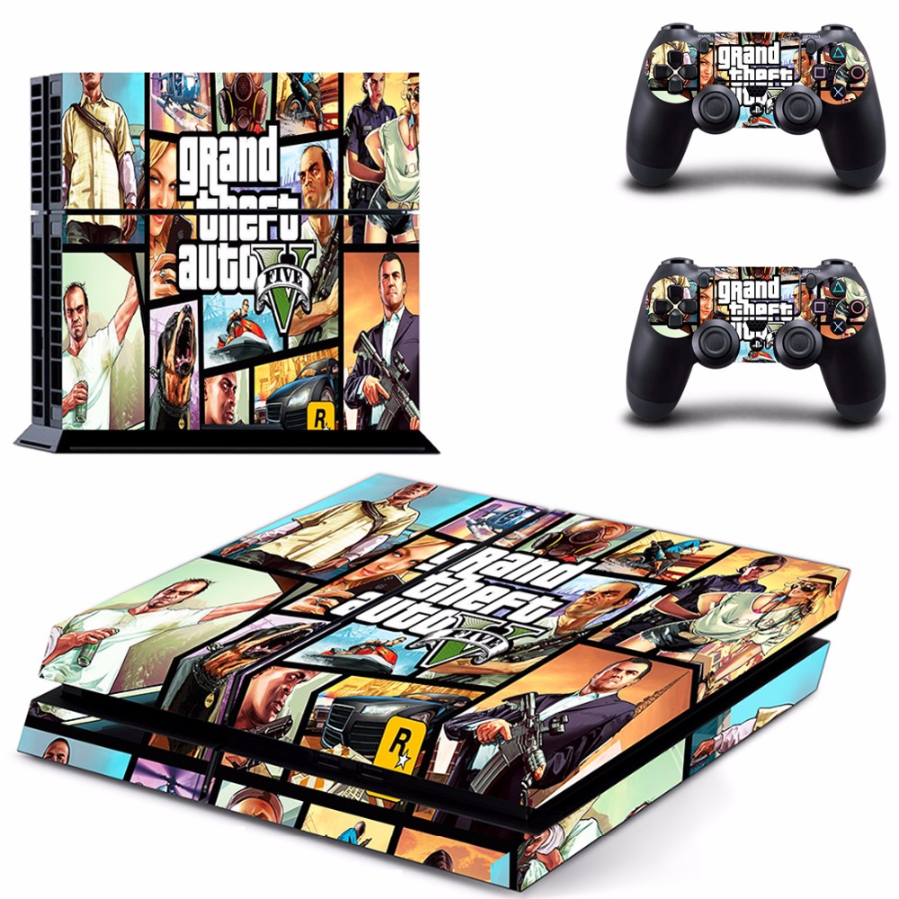 GTA V Vinyl Skin Sticker Cover For Sony PS4 Console with 2 Controllers Decal For Playstation 4 Gamepad Controle