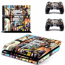GTA V ויניל מדבקת עור כיסוי עבור Sony PS4 קונסולת עם 2 בקרי מדבקות לפלייסטיישן 4 Gamepad Controle