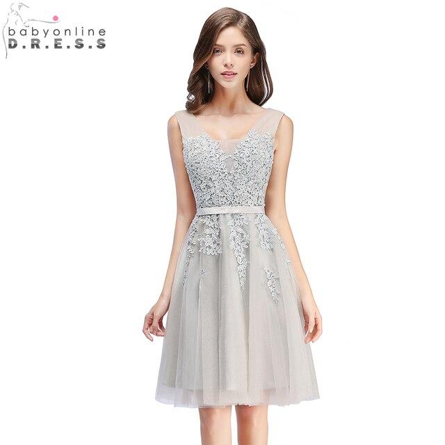 In Stock Sexy V Neck Lace Appliques Short Prom Dresses 2019 Lace Up Back Formal Party Dresses For Graduation vestido de festa