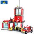 Пожарная Станция Пожарный Строительные Блоки Устанавливает Модель 300 + шт Enlighten Образования DIY Строительного Кирпича Игрушки Для Детей