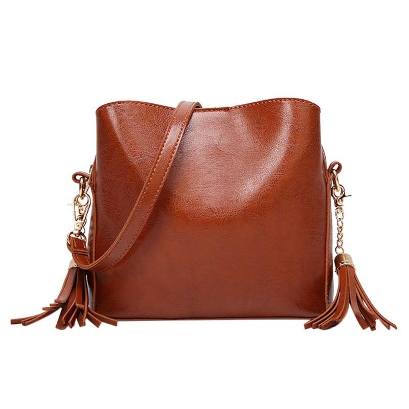 Vintage Women PU Leather Zipper Shoulder Handbags Tassels Messenger  Crossbody Pure Color Bucket Bags office lady handbag black bbd69c294e968