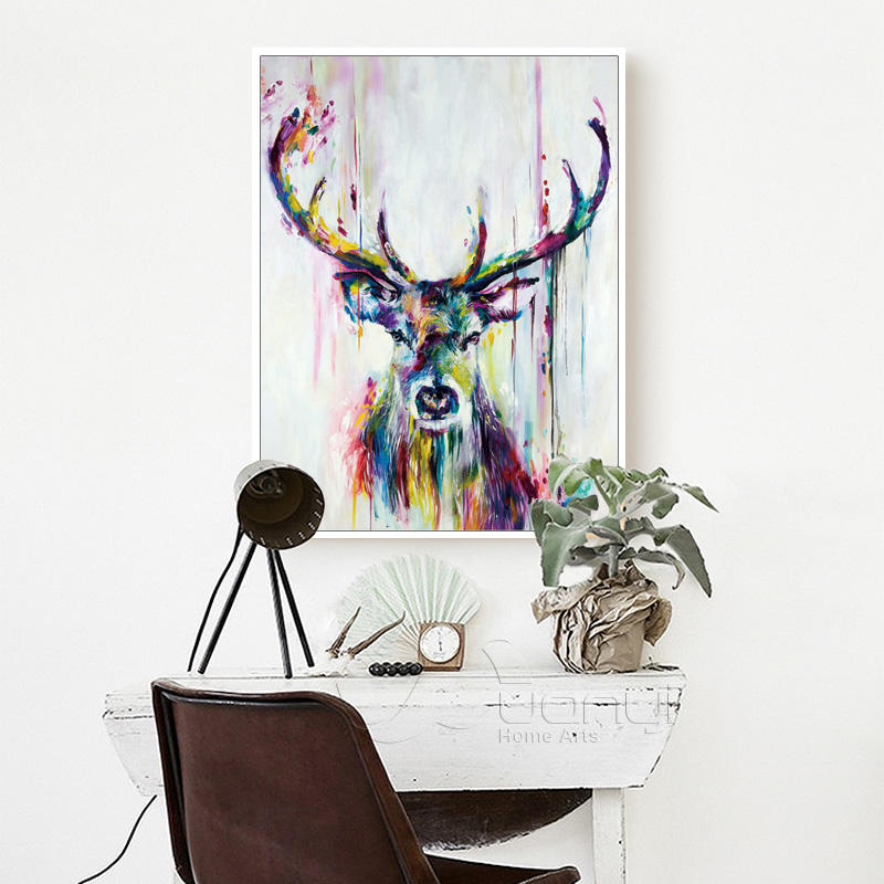 Canvas Nordic Deer Wall Art Oil Painting Nodic Abstract