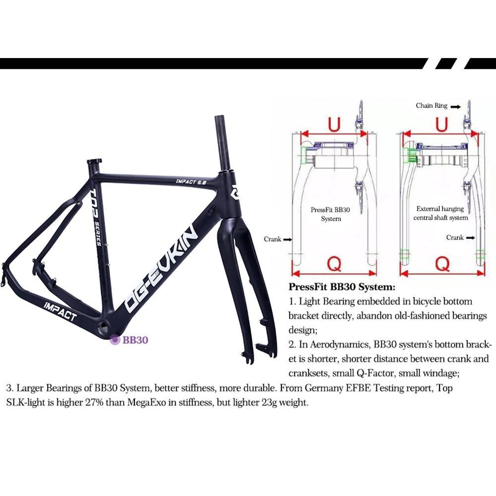 OG EVKIN CF 020 Carbon Road Frame Cyclocross Bicycle Frame Disc Brake BB30 38C Tire Carbon Bike Frame Road Bike Frame 51 53 55CM in Bicycle Frame from Sports Entertainment
