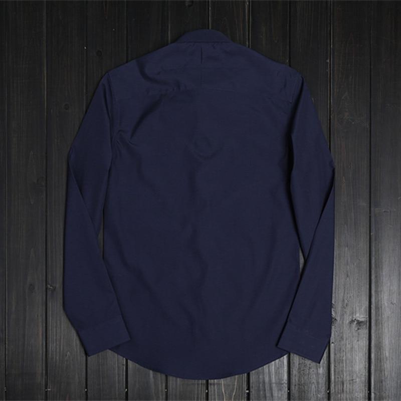 Manches Style Haute Vêtements De Solide Mlae Overhemd Mode Printemps Tops navy Simple Chemise Longues Blue Chemises Hommes Qualité À Coton Italie Blue Casual Royal fwxFq0F