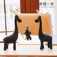 wedding gifts resin Swing deer lovers figurines giraffe statue home decor crafts room decoration objects resin animal figurines цена