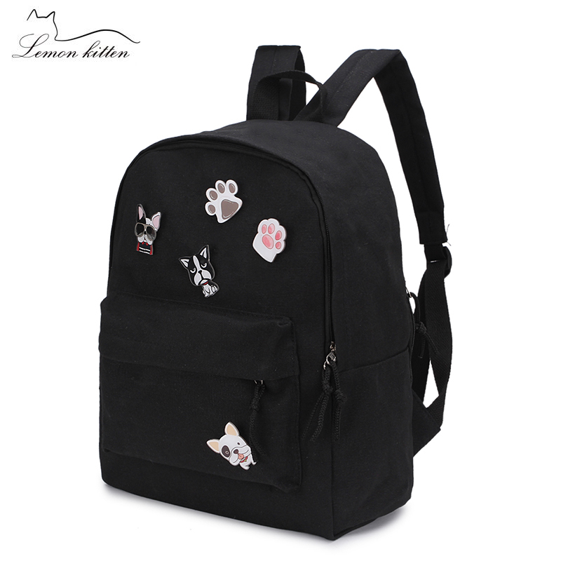 Canvas Solid Color Women Backpack Puppy Insignia Schoolbag Student Girl Leisure Backpack Female Mochila Bagpack Pack Design