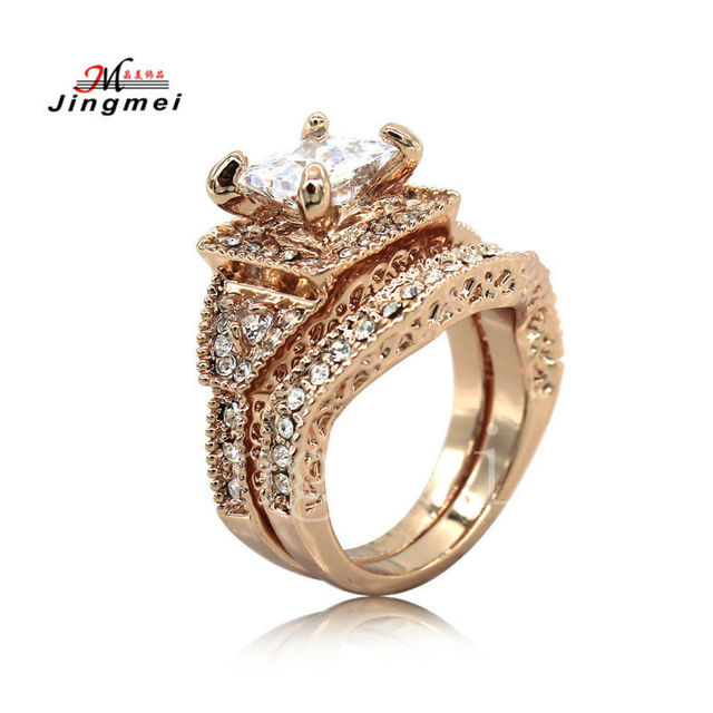 white AAA Cubic Zirconia size 6/7/8/9 Anniversary ring set rose gold rings Zinc Alloy  High quality womens ring free shipping