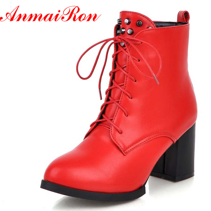ANMAIRON Platform Martin Boots Shoes Women Red Beige Black Round Toe Lace-Up Square Heel High Boots Fashion Winter Ankle Boots