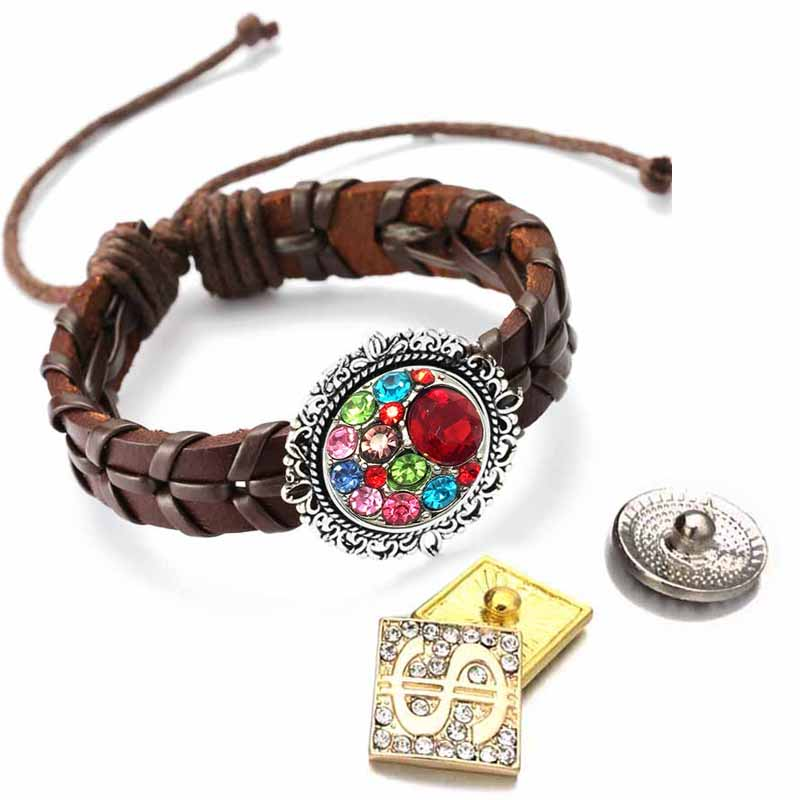 Adjustable Bracelet 157 Hand Woven Really Leather Retro Fashion 18mm Snap Button Jewelry Charm For Women Gift