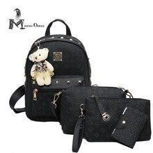 4 в 1 женщины кожа рюкзак черный кожаный рюкзак композитный мешок мини-рюкзак