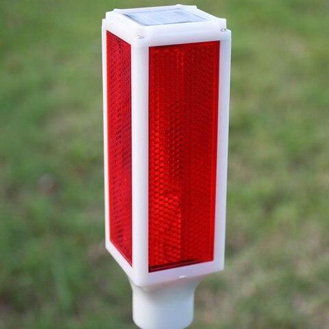 5 pc movido a energia solar a prova d agua luz de sinal 77 cm trafego luz vermelha ar livre enterrado lampada subterranea rua