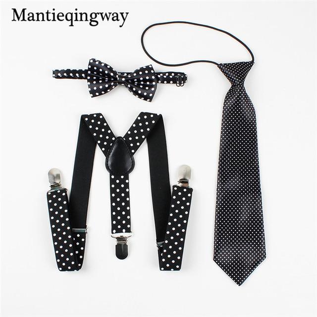 5ece3e18943 Mantieqingway Polka Dots Children Elastic Suspenders Belt Braces Kids Boys  Girls 3 Clips Adjustable Y-back Suspender Bowtie Sets