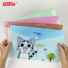 1 PC Cute Cheese Cat PVC A4 File Folder Document Filing Bag Stationery Bag School Office Supplies