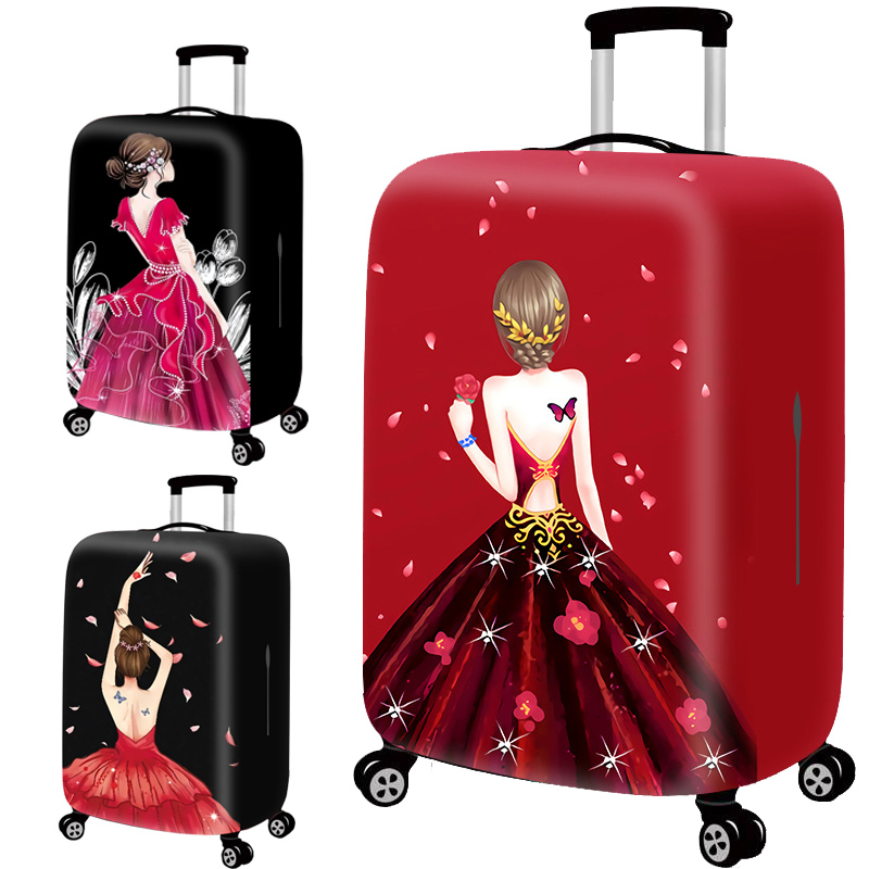 Travel Accessories Luggage Cover Suitcase Protection Set Baggage Dust Cover Trunk Set Trolley Case Elasticity Goddess Pattern