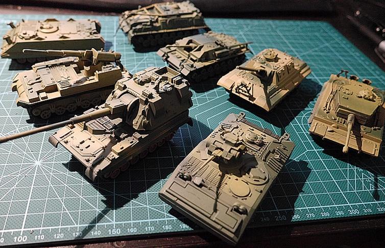 8Pcs 1:72 4D Plastic Assemble Tank Kits 2nd Generation WWII German USA UK USSR Military Table Tank Toys For Children