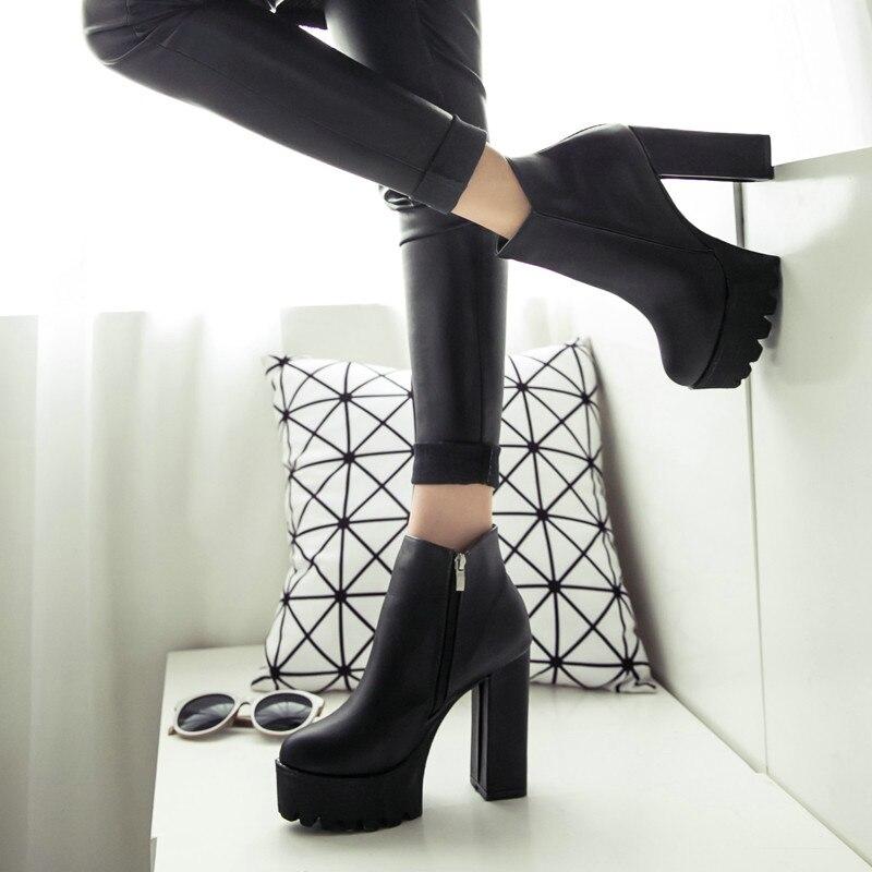 mejor baratas envio GRATIS a todo el mundo marca famosa € 21.94 15% de DESCUENTO|Botas de invierno para mujer, con plataforma  negra, con cordones, tacones altos gruesos, zapatos Punk, botines, botas de  ...