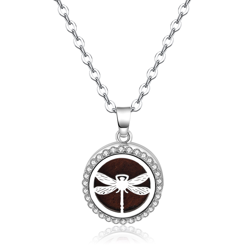 2018 Hot Aroma Diffuser Locket Stainless Steel  Necklace Pendant  Dragonfly