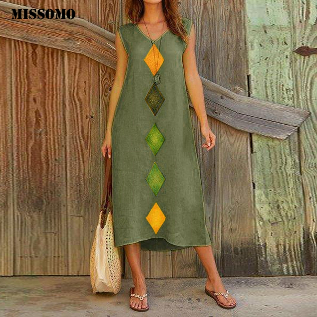 MISSOMO Vintage Women Summer Dress V Neck Cotton Linen Printed Casual Long Maxi Dress Beach Sleeveless Robe Femme Vestidos 611