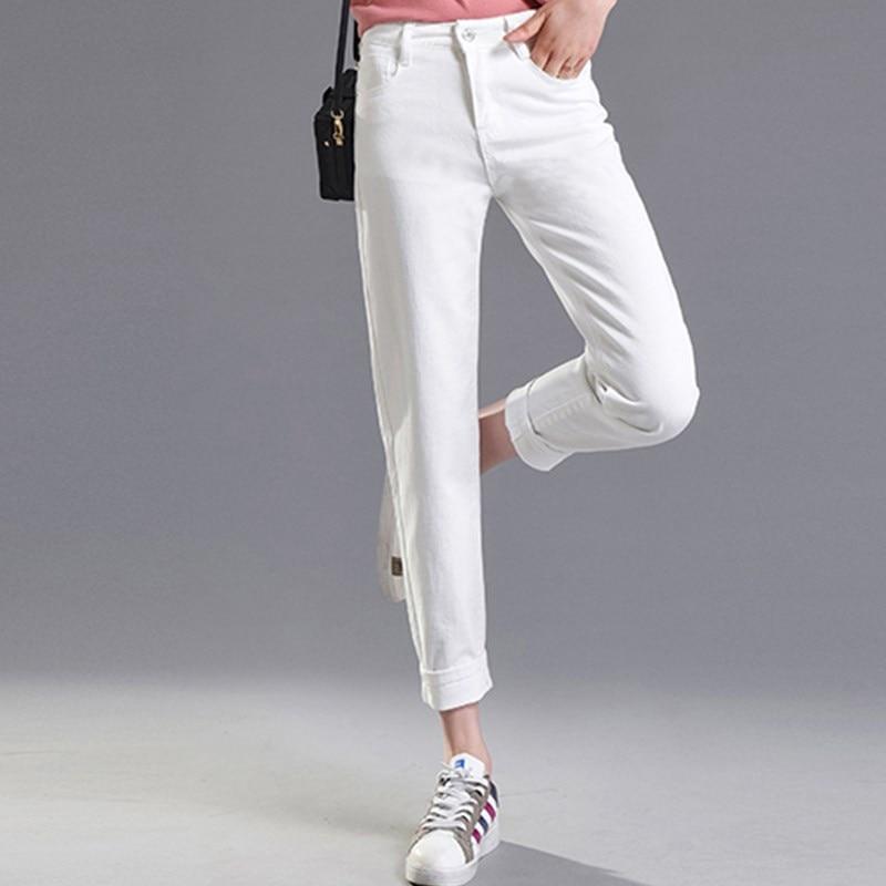 JUJULAND 2018 Vintage Mom Fit High Waist Jeans Elastic Femme Women Washed Black Denim Skinny Jeans Classic Pencil Pants