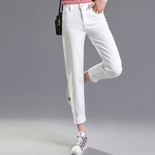 JUJULAND 9 Vintage Mom Fit High Waist Jeans Elastic Femme Women Washed Black Denim Skinny Classic Pencil Pants
