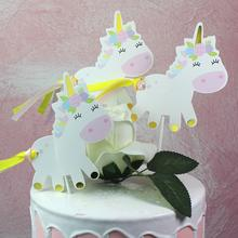 3Pcs Unicorn Rainbow Cake Topper Happy Birthday Party Wedding Decorations