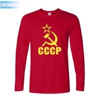 Güz Moda Rus CCCP Drees Tee gömlek Erkekler Sovyetler Birliği pamuk uzun Kollu T gömlek Çapraz fit Yenilik giyim Ordu T-shirt