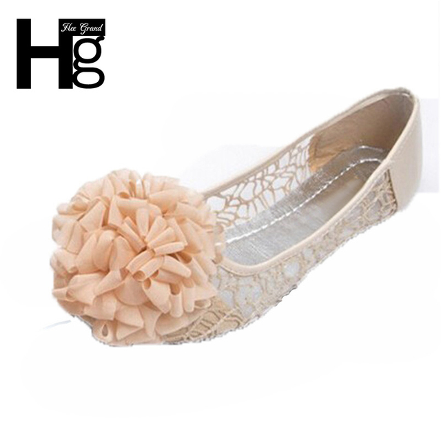 HEE GRAND Big Flowers Woman Flat Women Shoes 2017 Spring Autumn Transparent Lace Cut Out Ballet Flats XWD1110