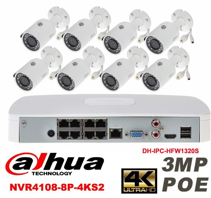 Dahua original 8CH 3MP H2.64 DH-IPC-HFW1320S 8pcs bullet IP security camera POE DAHUA DHI-NVR4108-8P-4KS2 Waterproof camera kit видеокамера ip dahua dh ipc hdbw2220rp zs 2 7 12мм 1 2 8 1984x1225