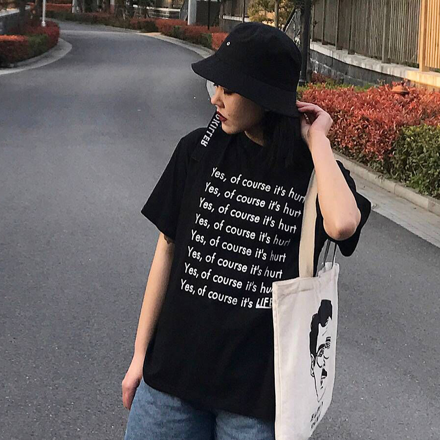 Hot Letter Casual Print T Shirt Women Lovers Ulzzang Summer 3xl Plus Size Tops Female Black White Cotton Tshirt Short Sleeve