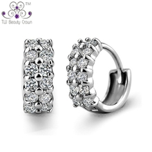 Fashion Design Authentic 925 Pure Silver Simulated Diamond Austrian Crystal Stud Earrings For Women Party Jewelry