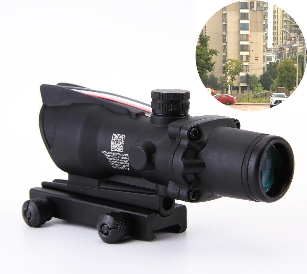 Trijicon ACOG Hunting Air soft 4X32 Rifle scope Red Optical Scope black Tactical Riflescope w Tri