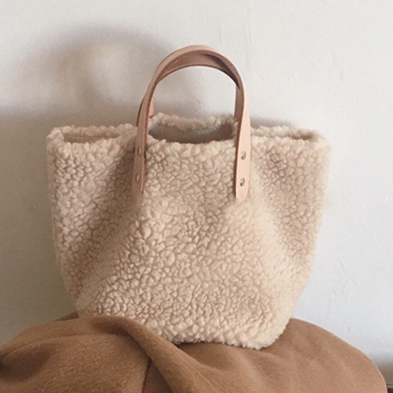 Faux Fur Tote Bag 2019 Women Small Top-handle Bag Casual Leisure Korean Style Fashion Handbag Teenager Trendy Winter Handle Bag