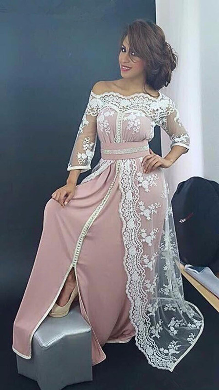 DZW511 Pink Muslim   Evening     Dresses   2019 A-line 3/4 Sleeves Satin Lace Long Elegant Prom   Dress     Evening   Gown