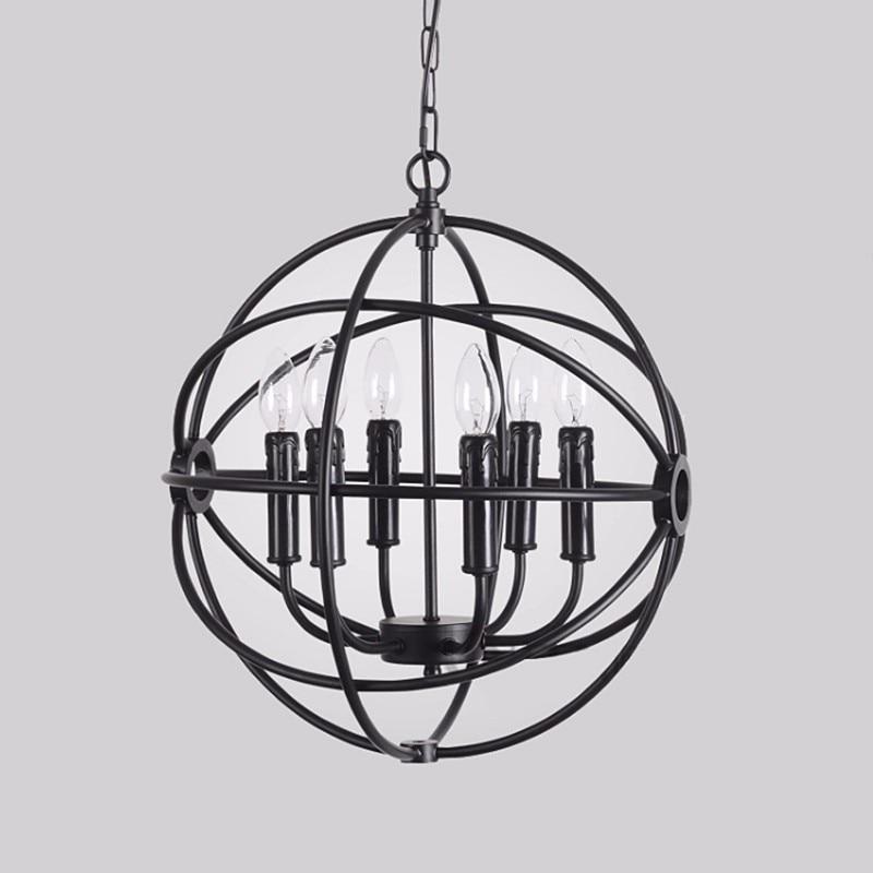 Vintage E14 Globe Light Iron 6 Bulb Chain Candle Pendant Lamp Lighting Fixture Cover Restaurant Home Decor 220V brief fashion pendant light restaurant lamp iron cloth indoor home lighting h9208 6