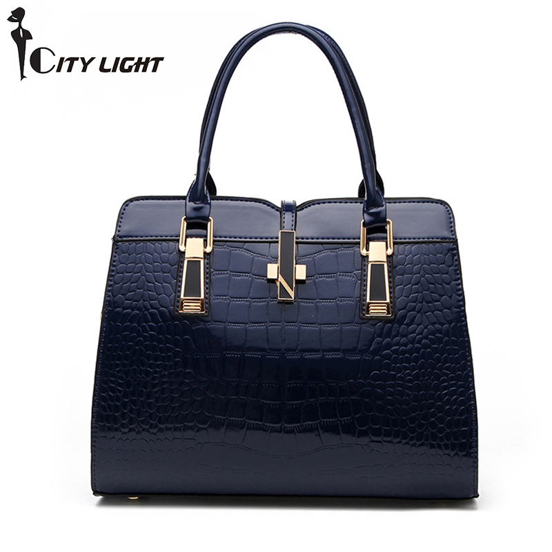 Brand Fashion Alligator Women PU Leather Handbag Luxury Crocodile Pattern Female Hand Bag Designer  Ladies Bags