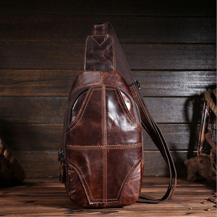 ФОТО Men Crazy Horse Leather Chest Bag Vintage Fanny Waist Pack Male Small Messenger Shoulder Bag Retro Crossbody Bag XY9002