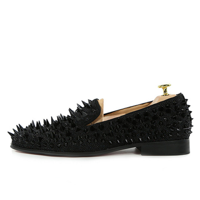 black shining loafers