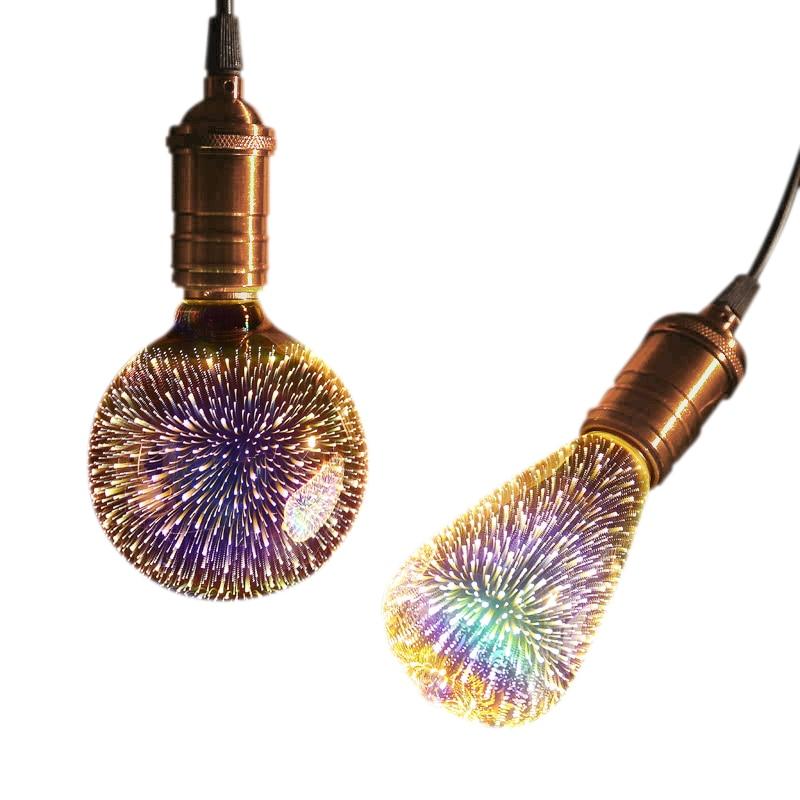 3D Creative Night Light LED E27 Edison Bulb Aroma Lamp Essential Oil Aroma Diffuser Firework Dazzle Color Bulbs  Xmas Decoration