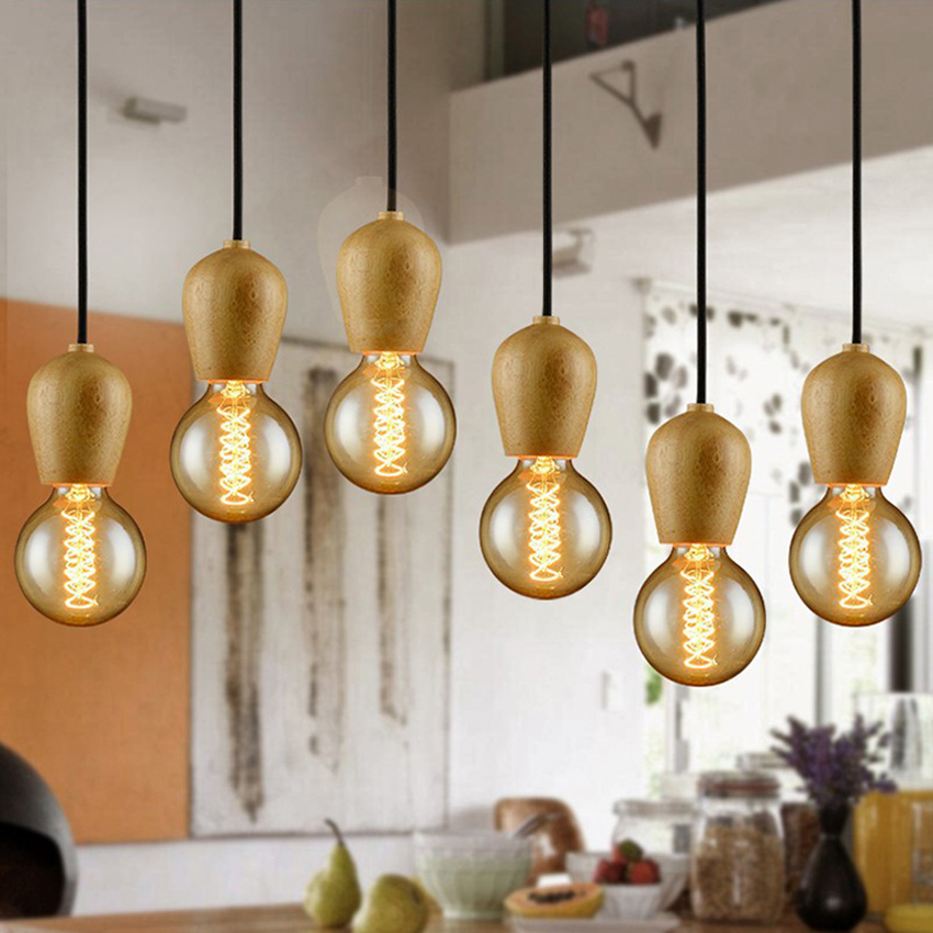 DBF Modern Wood Pendant Lights Vintage Colorful Cord Pendant Lamp Hanging Light Fixture Black Wire Edison E27 Bulb Not Included brass half round ball shade pendant light led vintage copper wooden lighting fixture brass wood fabric wire pendant lamp