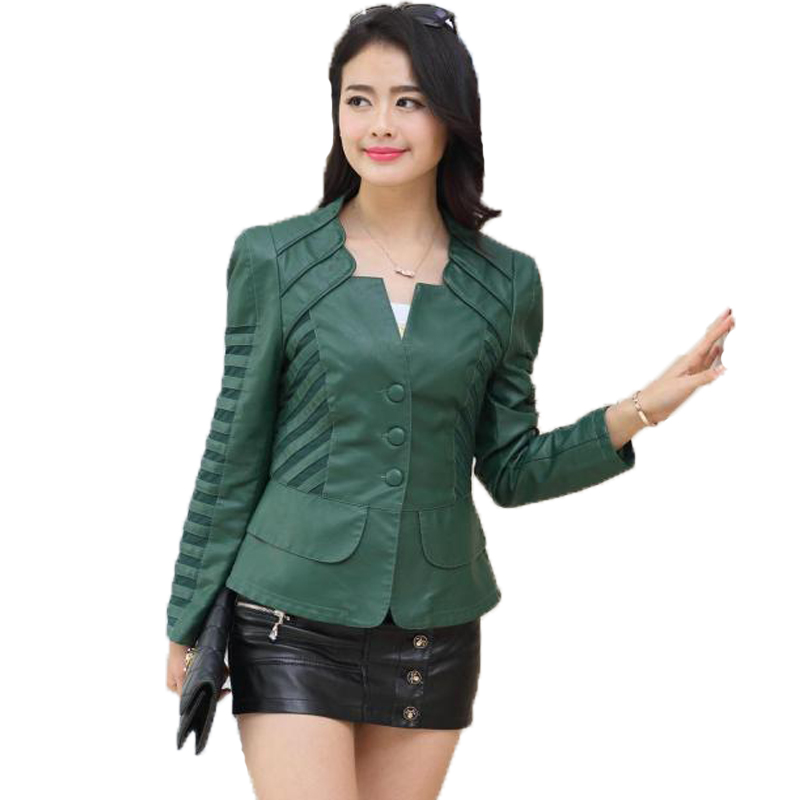New 2017 Spring Autumn   Leather   Jacket Women Slim Turn-down Collar Black Faux Fur Coat Plus Size Motorcycle Biker Green Cheap