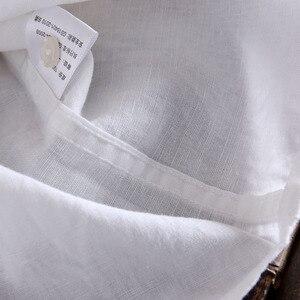 Image 5 - Brand 2020 Mens Long Sleeve Casual Linen Shirt Mens Social Turn down Collar Slim 2 Pockets Solid White Designer Dress Shirts XXL