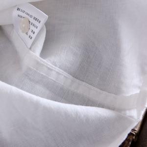Image 5 - Thương Hiệu 2020 Nam Dài Thun Áo Sơ Mi Linen Nam Xã Hội Cổ Bẻ Slim 2 Túi Chắc Chắn Trắng Thiết Kế đầm Sơ Mi XXL