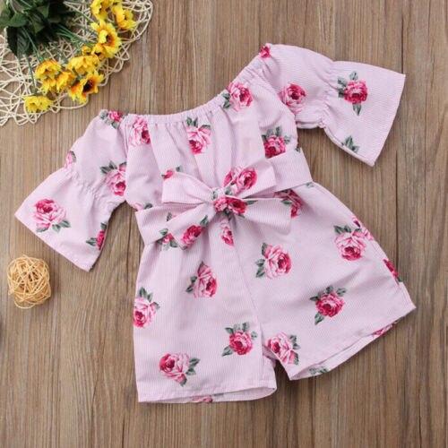 a15fdbec5265 2018 Summer Hot Kids Toddler Baby Girl Romper Off Shoulder Floral ...