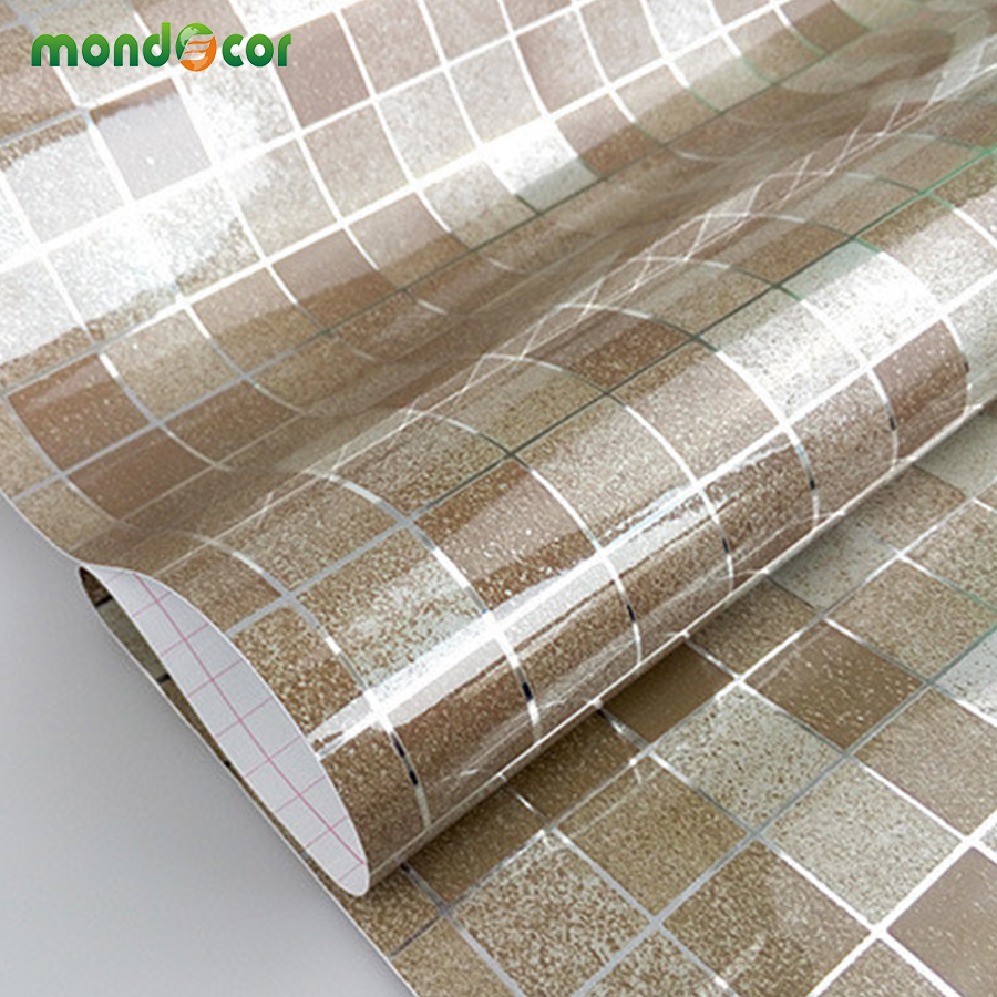 Modern bathroom waterproof mosaic mosaic vinyl pvc self for Waterproof wallpaper for home