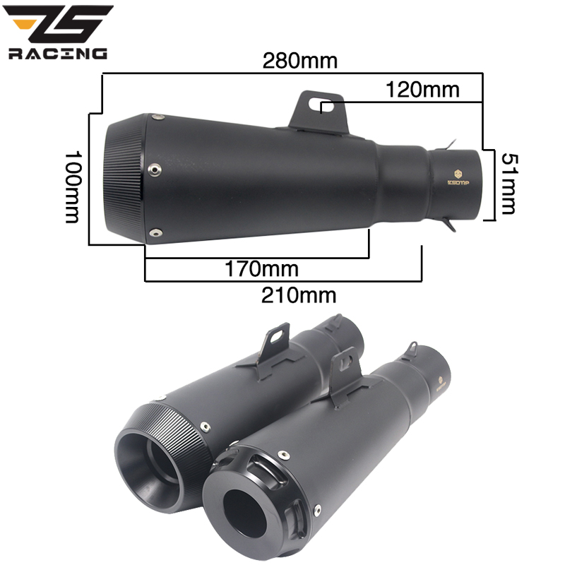 ZS Racing Universal 51mm Motorcycle Exhaust Muffler Stainless steel Pipe For Z800 GSXR750 ZX10R R6 Z900