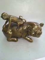 SNS Oriental Asia antique hand carving home decoration collection ornamental brass monkey riding pig