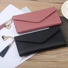 Модные женские кошельки, простые сумочки с кисточкой, черный, белый, серый, длинный секционный клатч, кошелек, мягкий из искусственной кожи, сумка для денег, Carteras