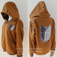 Anime Attack On Titan Jacket Hoodie Cosplay Costume Shingeki No Kyojin Eren Jaeger Jacket Embroidery Tag