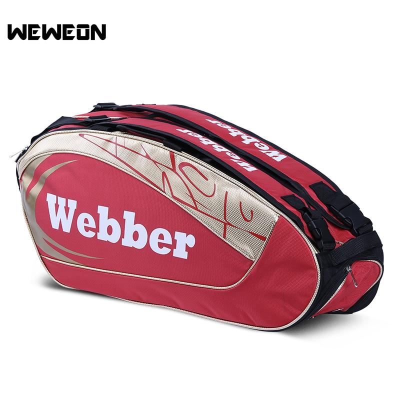 8-12Pcs Large Badminton Racket Bag Athlete's Tennis Bag Professional Badminton Shoulder Backpack With Large Storage Pocket