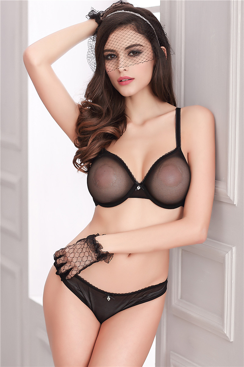 82e1b2954 Thin Transparent Bras Unlined Bra and Thong Set Mesh Lace Patchwork Sexy  Lingerie Underwear Women Diamond Intimates Rose Black